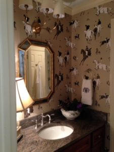 bathroom wallpaper with horse rider - Traditions Interiors-Wilmington, NC